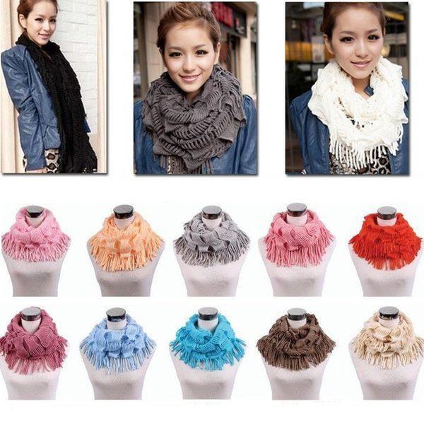 hot sale Womens Winter Warm Knitted Layered Fringe Tassel Neck Circle Shawl Snood Scarf Cowl Girl Solid Long Soft Infinity Scarves Wraps W00