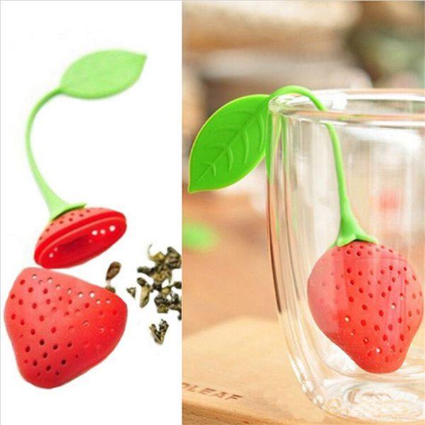 Filtros de café Tea Infuser lovely Reuseable safe Silicone Red Strawberry Shape Tea colador Coffee Punch Filter