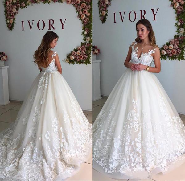 Vestido de fiesta Vestidos de novia 2018 Capilla Tren Sin mangas Tanque Apliques de encaje Cremallera con cuello en V Vestidos de novia Vestidos De Noiva