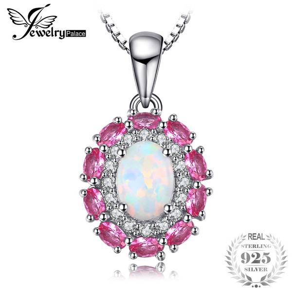 JewelryPalace 0.9ct Created Opal Inlay Pink Sapphire Necklaces Pendants For Women 925 Sterling Silver Box Chain Wedding Jewelry