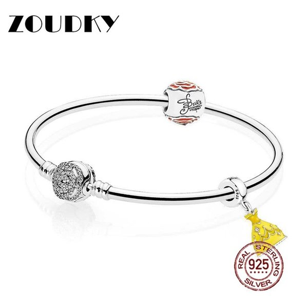 ZOUDKY 925 Sterling silver Belle's Enchanted Rose Bangle Set Clear CZ fit DIY Original charm Bracelets jewelry A set of prices