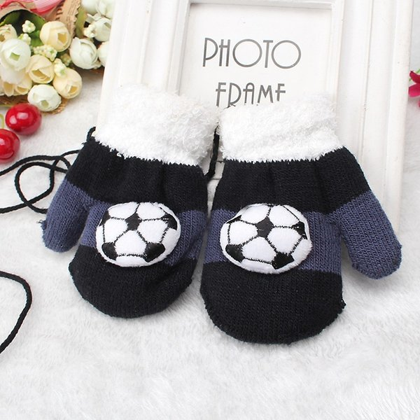 Miya Mona 1 Pair Boys Winter Warm Gloves Toddles Double Layer Thick Knitting Football Patterns Gloves Soft Full Fingers Mittens S1025