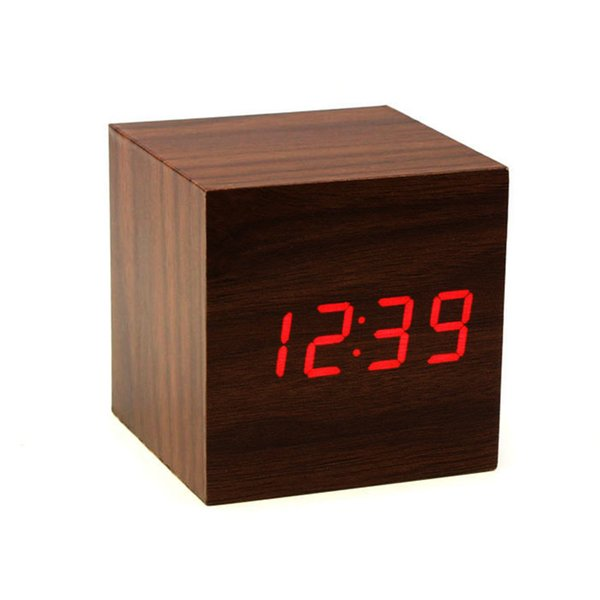 Home Wider Mini Cube Style Digital Red LED Wooden Wood Desk Alarm Brown Clock Voice Control sep930 Drop Shipping