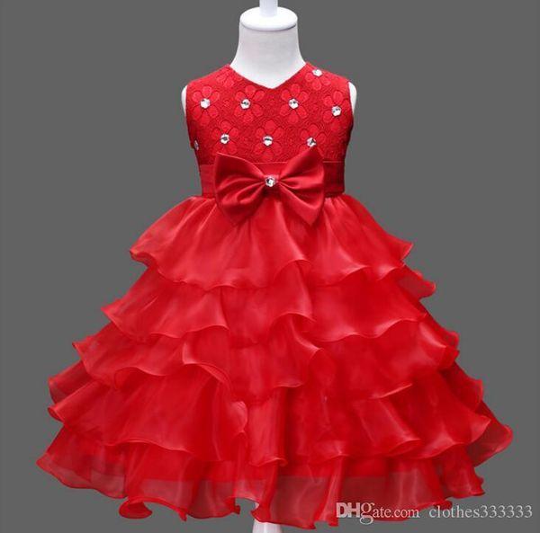 Flower Girl Dresses for Wedding Blush Pink Princess Tutu Sequined Appliqued Lace Dress skirt + diamond belt Bow dress