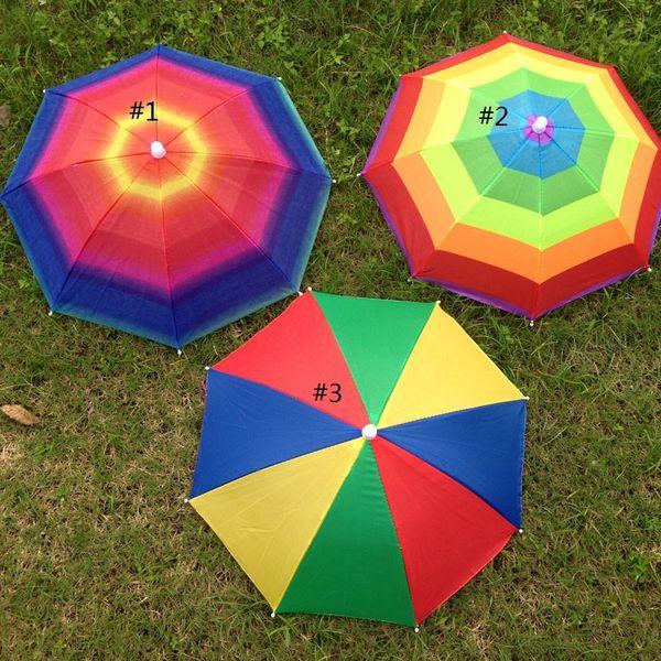 Foldable Sun Rainbow Umbrella Hat Adjustable Hat Umbrella for Hiking Fishing Outdoor Beach Headwear Cap Umbrellas