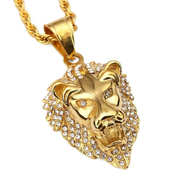 2018 Pendant Necklace Fashion Hip Hop Lion Head Crystal Rhinestone Titanium Steel Personality Men Jewelry Exquisite Necklaces