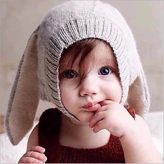 Luxury brand winter baby rabbit ears cap knitted velvet hat infant bunny caps cute Baby Kids Hat for Boys And Girls