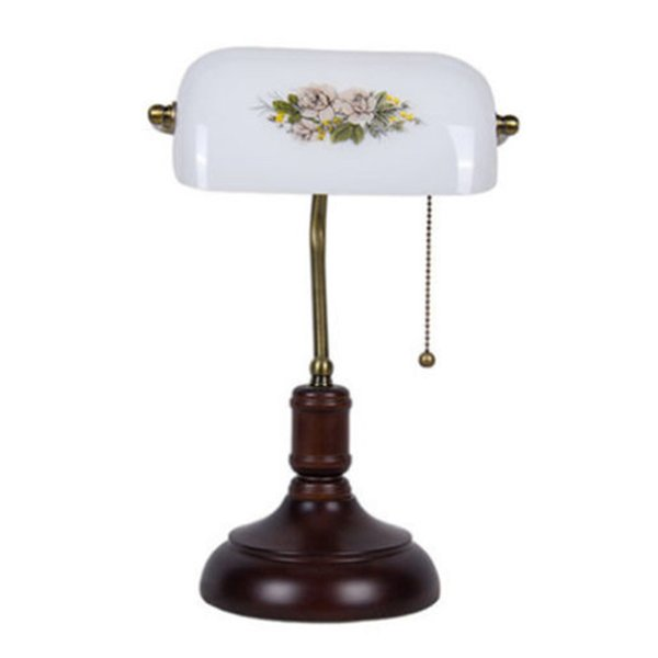 Bank Table Lamp Vintage Bedside Lamp Desk Lamps white glass for Home Decora Study Room Bedroom NEW art lamps E066