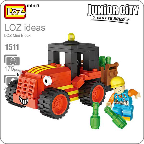 LOZ Blocks Diamond Engineer Mini Truck Micro Building Blocks Figures Cartoon Mini Plastic Assembly Toys Small Blocks Toy 1511