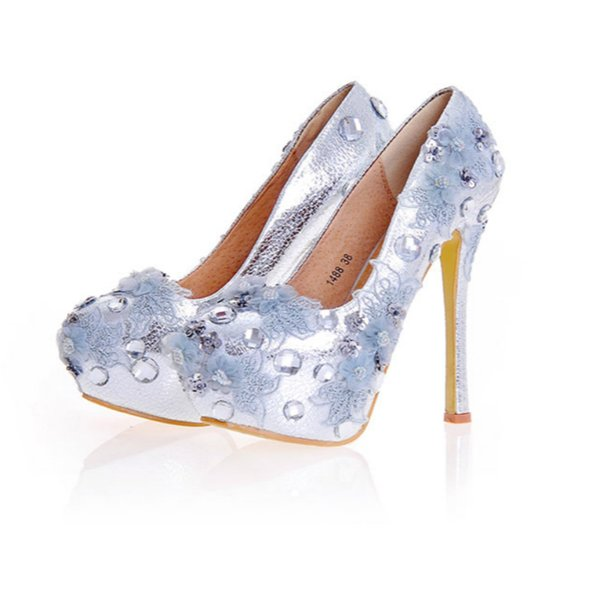 Wedding Crystal Shoes Bride Silver Women Pumps Ultra Sexy High Heel Genuine Leather Rhinestone Flower Platform Shoes Big Size 43