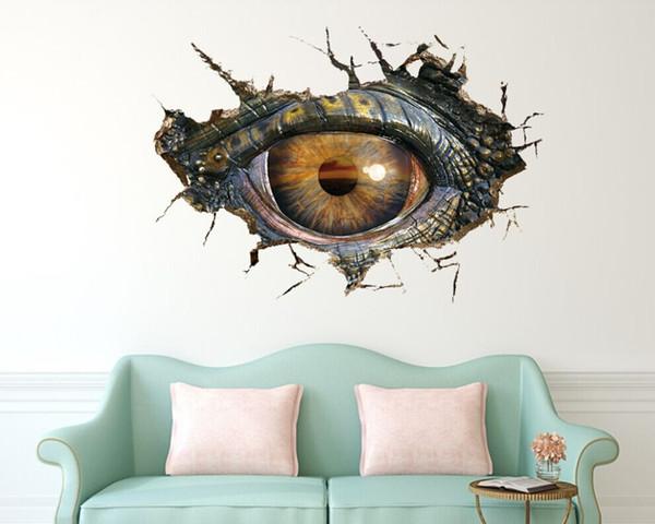 Большой динозавр глаз 3D стены наклейки декоративные творческие съемный наклейки на стену