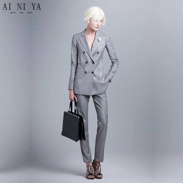 Hot Sale Women's Business Suits Light Gray Double Breasted Long Sleeve Female Trouser Suits 2 Piece Sets Office Uniform Style
