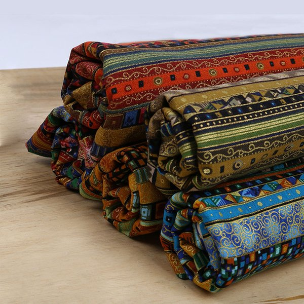 Ethnic Print African Cotton Linen Fabric DIY Handmade Sewing Fabric For Sofa Bags Dress Home Decor Table Cloth 145*45CM