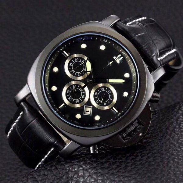 45mm Men's Watches Famous Brand Steel Watch Case Black Face Leather Band Luminous Waterproof Japan Move Quartz Battery Men Wristwatches PN2