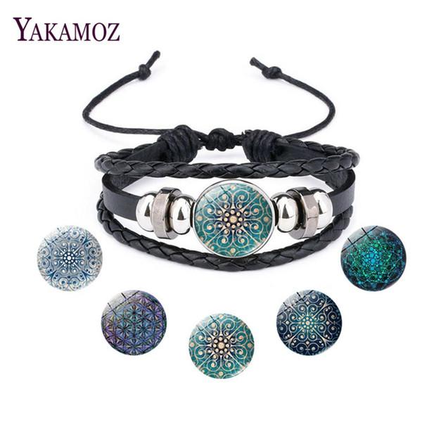 Online Shopping India Mandala Leather Bracelet Bangle OM Symbol Buddhism Zen Glass Cabochon For Women Men Jewelry Gift