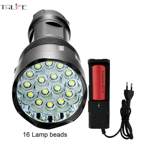 48000 Lumen High Power Flashlight 16 *CREE XML-T6 Powerful LED Flash light with 26650 battery waterproof torch lanterna camping