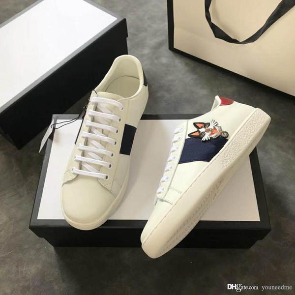 2018 Mais recente Marca de Moda Ace Série dos homens de Tênis Bordados Boston Terrier Bordado Applique Bosco Branco Listrado Sapatos Casuais