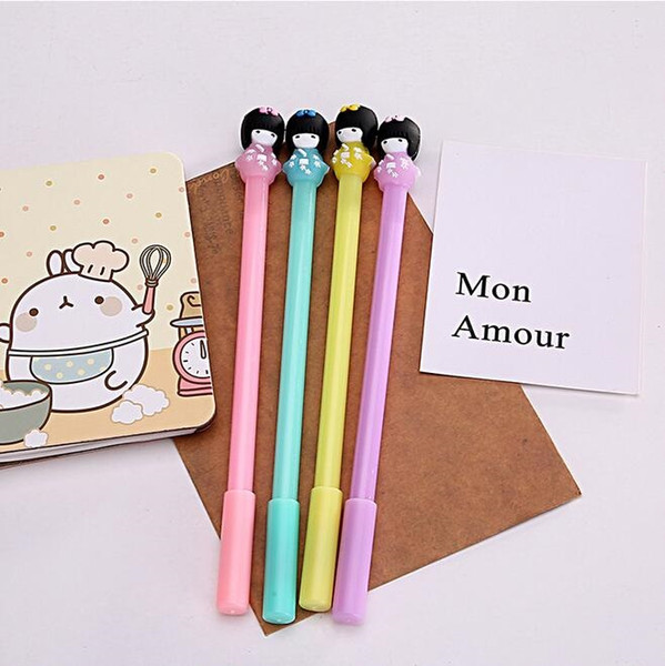 24pcs/lot Cute Japanese doll girl gel pen 3D 0.5mm black ink Writing Office School Supplies Stationery For Kids wholesale