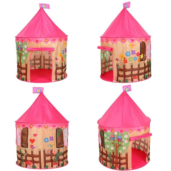 Creative Children Spire Game Tent Castle Playhouse Toy with Flower Bird Pattern Folded Portable Kid Outdoor Washed Play tent