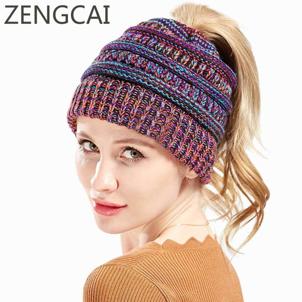 bf971f3f Ponytail Beanies Woolen Caps Multicolor Knitted Messy Bun Hat Winter Hats  For Women Female Autumn Beanies Soft Warm Skullies Cap Skull Cap Beanie Boo  ...