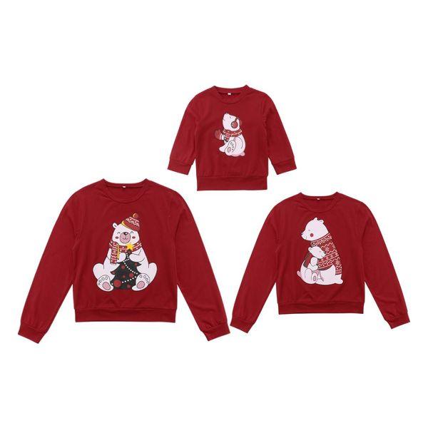 2018 Christmas Family Matching Women Men Kids Cartoon Print Cute Red Sweatshirt Hoodies Sweater T-shirt