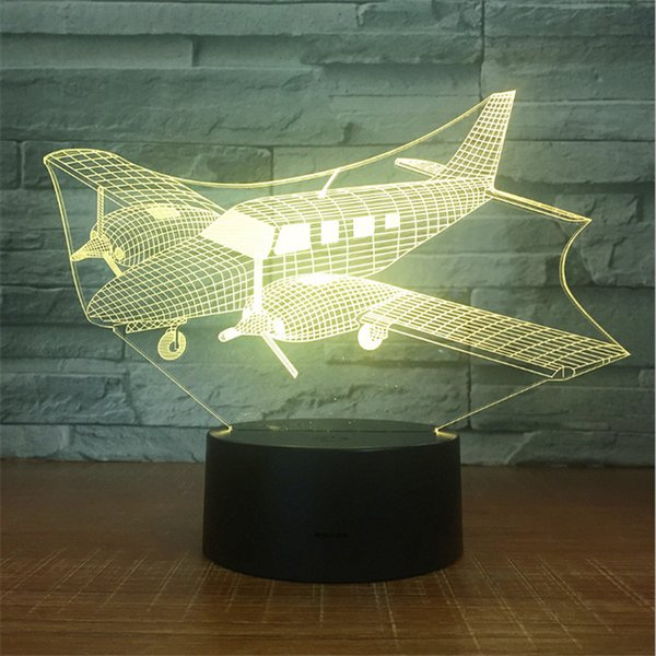 New Design DC 5V USB Powered AA Battery Powered Hot 3D Small Aeroplane Pattern Illusion Lamp 7 RGB Lights 3D LED Night Light