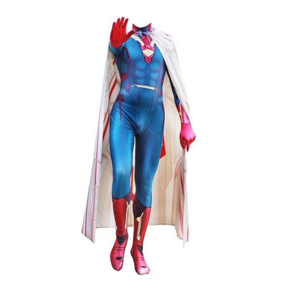 New Avengers: Infinity War Captain America Vision Cosplay Costumes lycra zental Jumpsuits fancy ball halloween Carnival Bodysuit