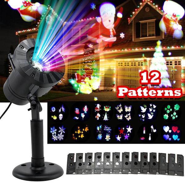 Proyector láser de Navidad 12 patrones Copo de nieve llevó la ducha láser luces de navidad guirnalda al aire libre Proyector a prueba de agua