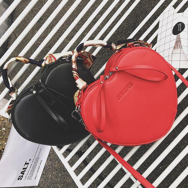 2018 autumn new fashion trend handbags peach heart small bag personality silk scarf handbag shoulder Messenger bag