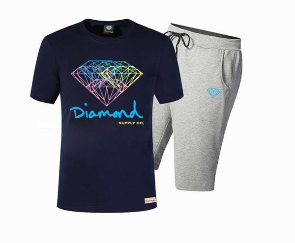 Nuevo Verano Algodón Hombres Camisetas Moda manga Corta Impreso Diamond Supply Tops Tees Skate Brand Hip Hop Ropa Deportiva Z09