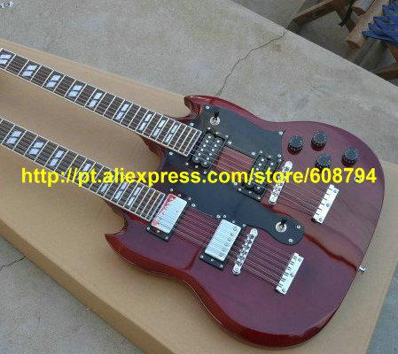 Custom 1275 Double neck Electric Guitar Red 12 strings / 6 strings Guitars China guitar Free shipping