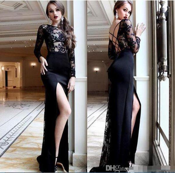 Vestidos de baile de pescoço bateau preto barato longo mermiad vestidos de noite side split mermiad vestidos de noite de trompete