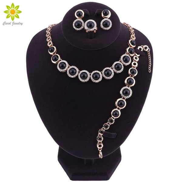 Hot African Female Costume Gold color Jewelry Set para mujeres Black Necklace Earrings Pulsera Ring Set Wedding