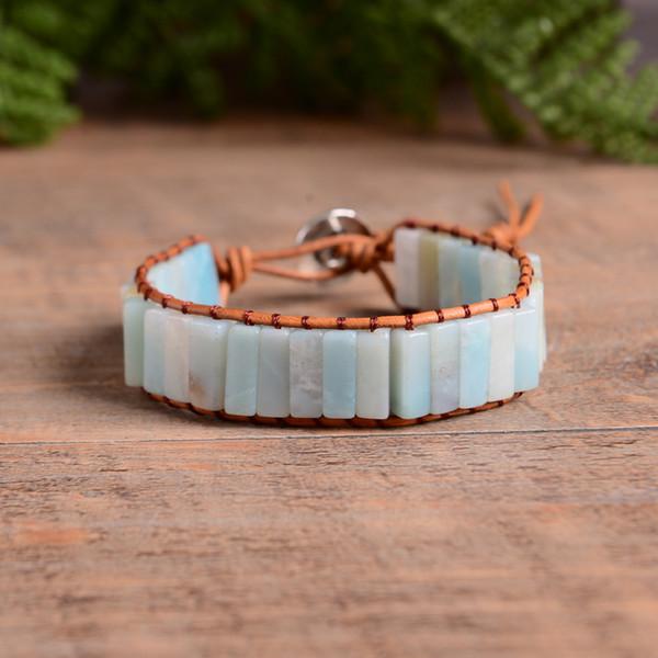 Bohemia Bracelet Amazonite Unique Vintage En Cuir Wrap Bracelet Semi Precious Stone Perlé Manchette Drop Shipping