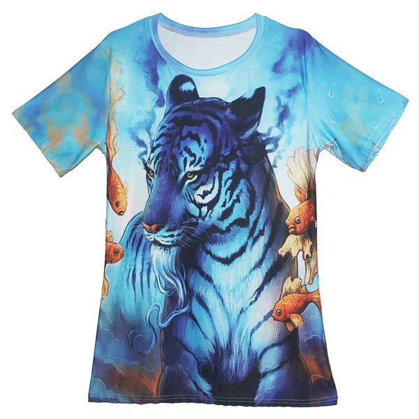 NEUF 3D Imprimé Animal Coloré Tigre Femmes Hommes Casual T-Shirt à Manches Courtes Tee Top