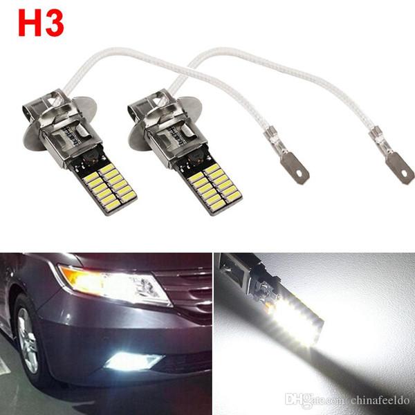 LEEWA 2pcs White H3 24SMD 4014 Chip 24LED Error-Free Canbus Car Front LED Fog Light LED Headlight #4021