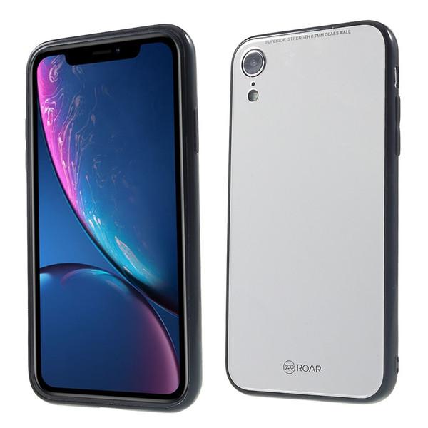 Para iPhone XR ROAR KOREA Espejo de superficie de cristal templado Volver + TPU híbrido cubierta de la cáscara del teléfono móvil para iPhone XR 6.1 pulgadas