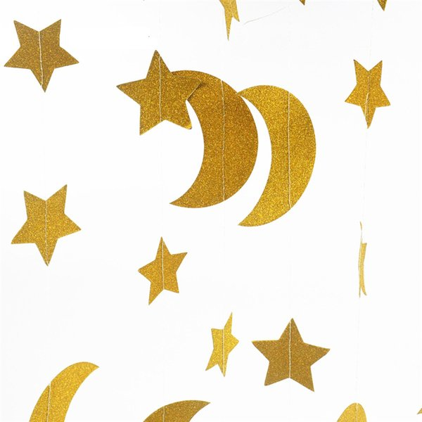 Stars Moon Paper Garland Glitter Bling Hanging Ornament Wreaths Background Wall Mounted Decor for birthday Party wedding Decoration