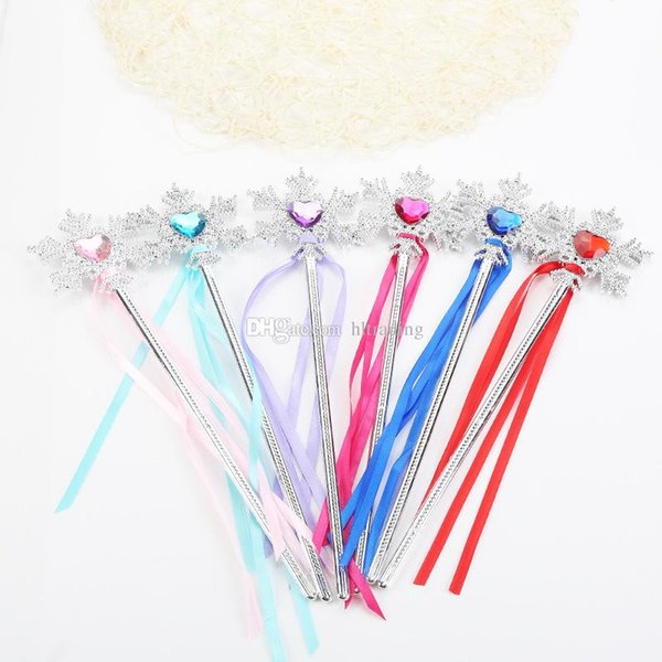 Princess snowflake ribbons magic wand baby girls Fairy wand cartoon Rhinestones snowflake Wand gem magic sticks party props decoration C3629