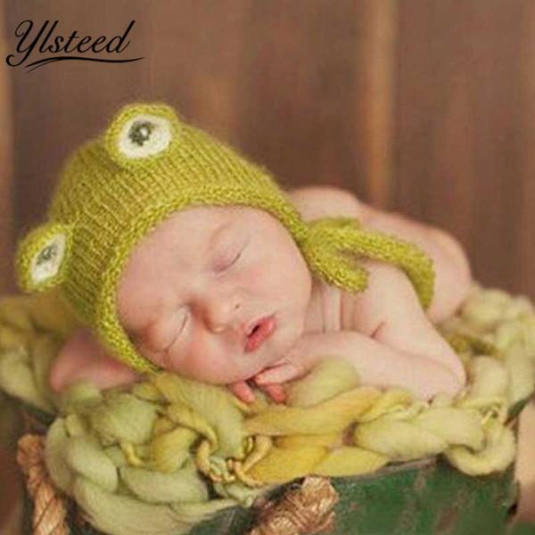 Foto de recién nacido de punto Kawaii Baby Mohair Hat Patrón de rana verde Baby Boy Apoyos de fotografía Crochet Infantil Photoshoot Outfits