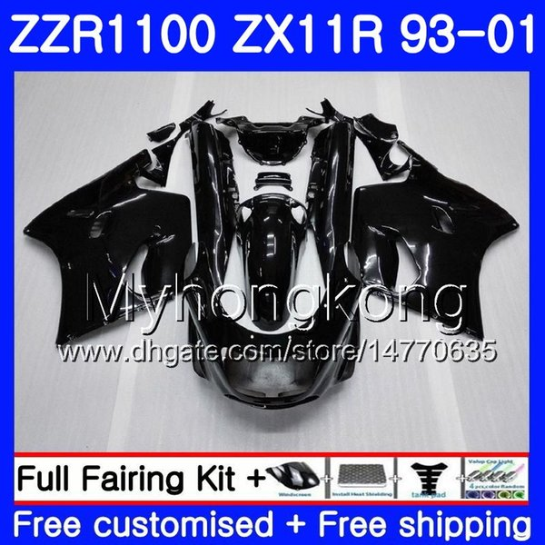 Body For KAWASAKI NINJA ZX 11R ZX11R 93 98 99 00 01 206HM.26 Gloss black ZZR 1100 ZX11 R ZZR1100 ZX-11R 1993 1998 1999 2000 2001 Fairings