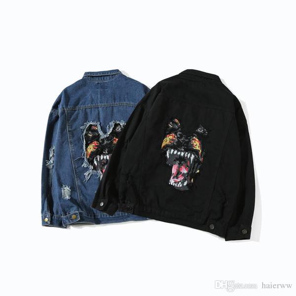 Printemps et automne Europe et la rue des États-Unis veste veste mode rétro jeunesse denim broderie manteau tête de marée de chien