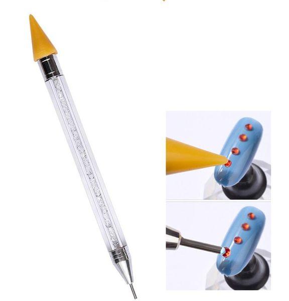 Bordado de diamante de Doble Cabeza Punto de la pluma del taladro Punto Pintura Punto de la pluma Acrílico Nail Art Manicure Polish Tool Kit DIY Set Deco c811