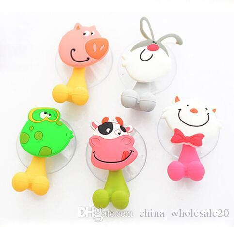 Free Shipping Animal Cute Cartoon Suction Cup Toothbrush Holder Bathroom Accessories Set Wall Suction Holder Tool