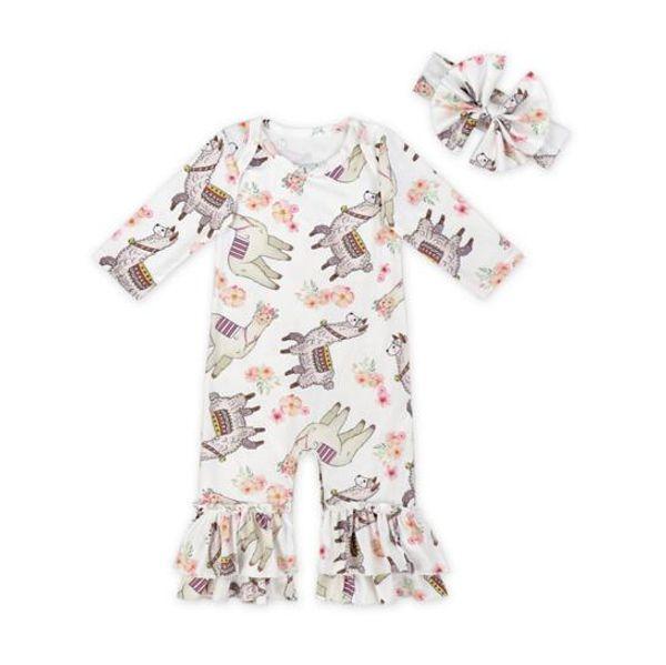 Girls Fall Baby Pagliaccetto manica lunga Boutique tutina Onesies con testine Baby Christmas Unicorn Pigiama due pezzi Baby Girl Pagliaccetto