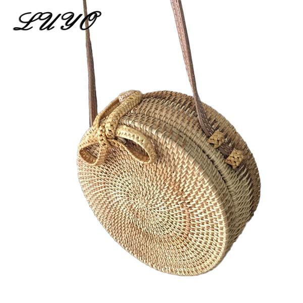LUYO 2018 Summer Handmade Woven Round Butterfly Rattan Straw Bags Bohemia Style Beach Circle Bag INS Bali Island Hand Buckle