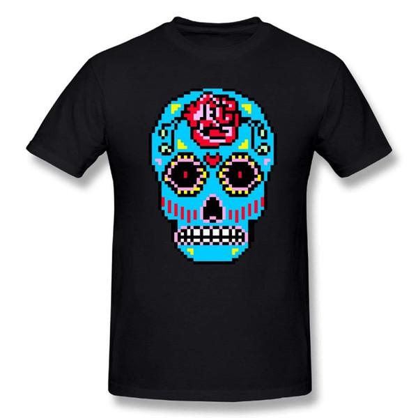 Men's Sugar Skull Pixel Art 100% Cotton Prints Casual Short Sleeve T-shirt 2018 New Top Quality Top Tee Selling