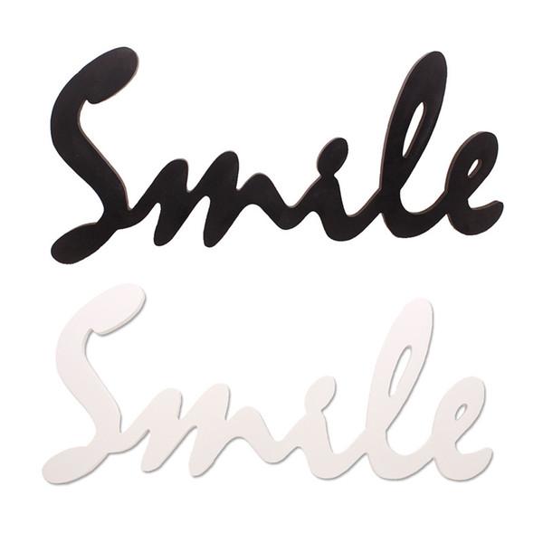 Smile Wood Sign Rustic Cursive Word Wall Hanging Room Decoration Shelf Smile Script Word Art Wood Decor Black White