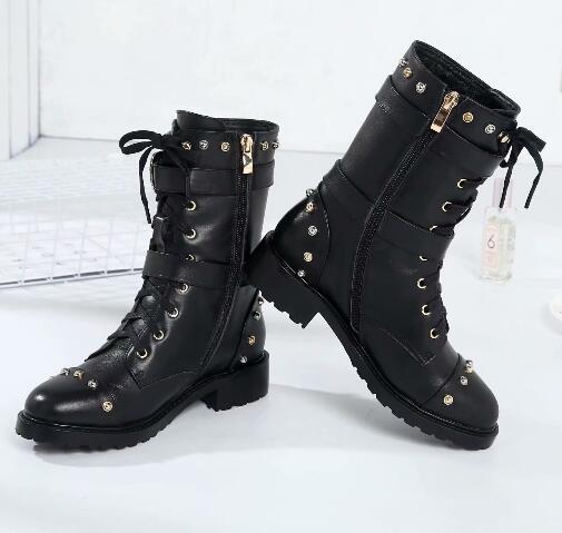 Femmes style zip rivet à lacets demi-bottes en cuir véritable talon bas Martin bottes bout rond chaussures de soirée femmes taille 34-40
