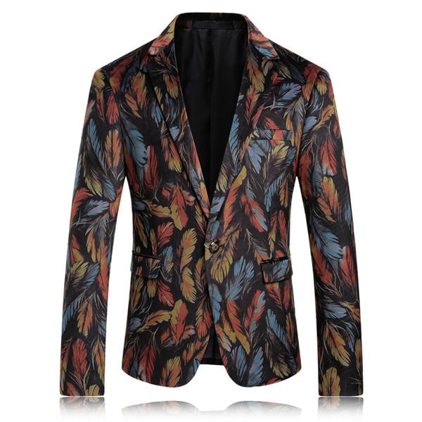 Men Blazer Designs Slim Fit Feather Mens Printed Blazer Casual Suit Jacket Unique Wedding Party Prom Mens Blazers